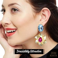 ZeroKaata/Fashion Jewellery Brass Based Silver Plated Earrings Embellished With Deep Red Stones For Women /& Girls