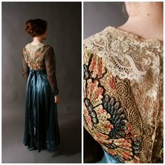Vintage Edwardian Dress  Bold Teal Silk Dress with by FabGabs, $825.00