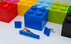 LEGO® Plate Cufflinks, Tie Clip & LEGO Box- Blue, Black, Red, Yellow, Green- Groomsmen Gift Page Boy Gift, LEGO Jewellery Man
