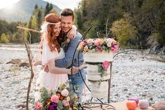 BOHO Styled Shoot Carinthia/Austria Elopement by the river Photo: Tanja und Josef Fotografie – Film Carinthia, Boho Wedding, Austria, Boho Fashion, Pink, River, Couple Photos, Couples, Style