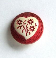 vintage 1930 red celluloid button