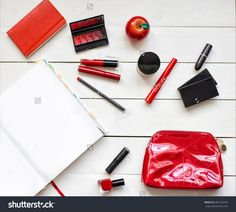 Collection Of Different Professional Make Up Products On White Wood Top View. Make Up Set Studio Shot. Woman Fashion Accessories With Magazine Mock-Up Copy Space. Autumn Red And Black Mood Stock Photo 487162357 : Shutterstock