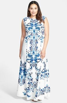 Eliza J Placed Print Crêpe de Chine Maxi Dress (Plus Size) available at #Nordstrom