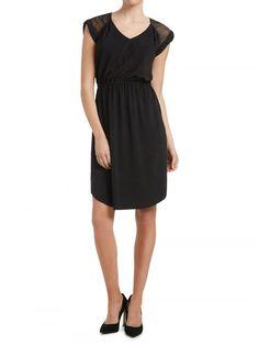 Black Sheer Stripe Dress