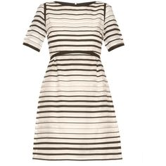 Goat Becky striped-organza dress (61.810 RUB) ❤ liked on Polyvore featuring dresses, white stripe, a line striped dress, graphic print dress, striped loose dress, white organza dress and a line dress