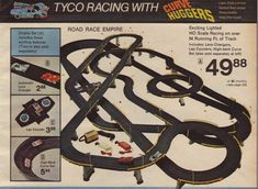 Electric slot car racing sets...these were the coolest and it would keep us entertained for hours since you had to put it together, play as long as you wanted and then we had to put it all away and make sure it all fit back into the box!