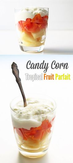 This tropical fruit parfait is layered to look like candy corn. Fresh pineapple and papaya are topped with thick yogurt and shredded coconut. It's a great alternative for a Halloween inspired treat that is delicious and healthy!