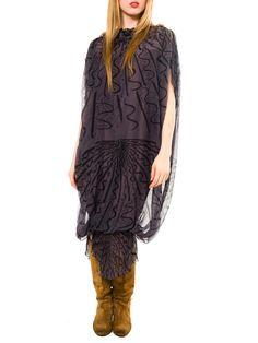 Zandra Rhodes hand Beaded Silk Chiffon Dress