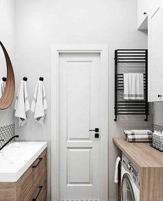 Modern Bathroom Decor, Bathroom Design Small, Bathroom Styling, Bathroom Interior Design, Small Apartment Interior, Apartment Design, Laundry Room Bathroom, Home And Deco, Dream Rooms