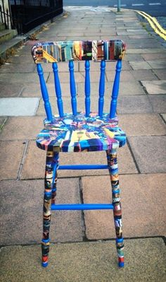 Reclaimed chair given a new lease of life re-invented with waste materials (old magazine) and unwanted paint. Information: Juliette Myzak-Douglas website !