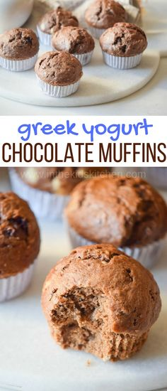 Delicious, decadent, and GOOD for you! These Greek Yogurt Chocolate Muffins are protein-packed, high fiber, low sugar, and oh-so-fudgey!