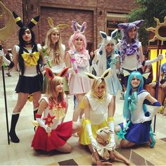 Eeveelution Sailor Scout cosplay for #akon26 :) today was pretty great, we were a big hit! Couldn't go ten steps without getting stopped for a picture lol @bria_nana @meganplays @wendykkuma @zoelifts @reidf @marybunny @raychelliz