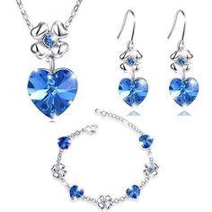 Oferta: 35.99€ Dto: -65%. Comprar Ofertas de MARENJA Cristal-Conjuntos de Collar Pendientes y Pulsera Mujer Corazon Trebol Chapado en Oro Blanco Cristal Azul barato. ¡Mira las ofertas!