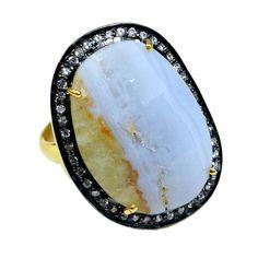 Silvestoo India Blue Lace Agate & Zircon Gemstone 925 Sterling Silver Vermeil Ring US Sz 7 Adjustable PG-100711   https://www.amazon.co.uk/dp/B06XX9B7DP