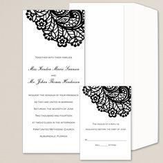 Lovely Lace Wedding Invitation   #exclusivelyweddings   #blackandwhitewedding