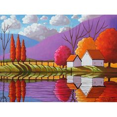 PAINTING Original Landscape Modern Folk Art Purple Mountains Cottage Colorful Trees River Reflection Fine Artwork C. Horvath Buchanan 18x24. via Etsy.