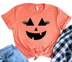 Pumpkin Face with Lashes Funny Halloween Shirts Halloween Costume T shirts Disney Halloween Shirts Women's Halloween Shirts Halloween Tshirts for women