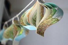 map garland or xmas ornament idea