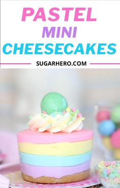 Looking for an easy Easter dessert? These Easter No-Bake Mini Cheesecakes are perfect! They're cute pastel striped cheesecakes that are simple to make, no baking required! desserts recipes easy videos Easter No-Bake Mini Cheesecakes Easy Easter Desserts, Mini Desserts, Easy Easter Recipes, Mini Dessert Recipes, Easter Cookies, Easter Treats, Sugar Cookies, Easter Cheesecake, Oreo Cheesecake