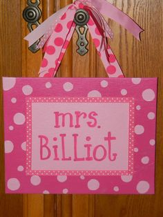 Teacher Gift -Hand painted on 8x10 canvas with ribbons- Can Be made in any color combo you would like   *©2011Hairbows*N*More