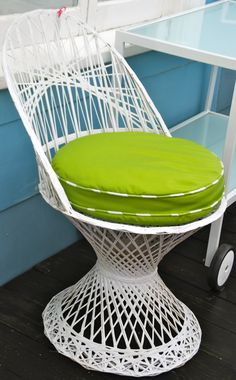 "Metal Weave Chair: Retro Metal Weave Chair, such an intricate design.  So cool as a side chair anywhere in the house or covered outside area.  Sturdy fiberglass will last forever.  New custom made round cushion covered in a green sunbrella fabric with striped piping.    18""Seat Diameter x 33""High"