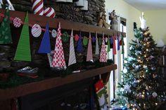 fabric paper christmas tree ornament garland