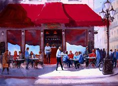 Sandra Pearce - Cafe et Conversations- Watercolor - Painting entry - August 2017   BoldBrush Painting Competition