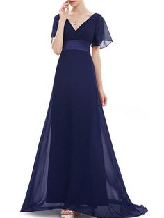 Fashionmia - Fashionmia V-Neck Plain Ruffle Sleeve Empire Maxi Dress - AdoreWe.com