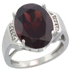 $392.71 USD, Sterling Silver Diamond Natural Garnet Ring Oval by WorldJewels