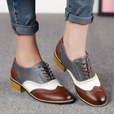 Retro Women Leather Lace Up Brogue Shoes Oxford Dress Chunky Block Heels Size