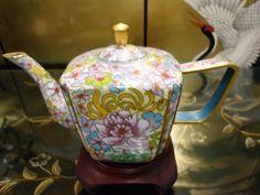 A RARE Large 70s A Vintage Chinese Cloisonne Tea Pot Bronze Enamel | eBay