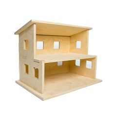 "The perfect transitional dollhouse for open ended fun! Keep its simple modern styling or paint it to your preference. The Dollhouse is about 17"" long, 13"" wide and 13.25"" tall total. The bottom level"
