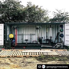 Check out this shipping container turned home gym featuring our Cable Crossover! - Check out this shipping container turned home gym featuring our Cable Crossover! Check out this shipping container turned home gym featuring our Cable Crossover! Crossfit Garage Gym, Home Gym Garage, Diy Home Gym, Gym Room At Home, Basement Gym, Best Home Gym, Gym Shed, Pallet Pergola, Backyard Gym
