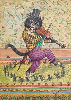 Louis Wain, A cat playing a fiddle - I'm having a bit of a Louis Wain moment. They remind me of a dear friend who also admired Louis Wain Art Louis Wain Cats, Son Chat, Here Kitty Kitty, Cat Drawing, Belle Epoque, Grant Wood, Crazy Cats, Cat Art, Vintage Art