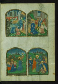 Lace Book of Marie de' Medici Top: Funeral Service; Annunciation; Bottom: Garden of Gethsemane; Betrayal and Arrest of Christ Walters Manuscript W.494 fol. 1r by Walters Art Museum Illuminated Manuscripts
