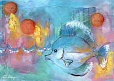 A tiny reef fish in an aqua grotto. Created with watercolor, ink, and collage. Find this lovely and affordable art print at my Image Kind gallery. #prettyfish Pretty Fish, Affordable Art, My Images, Studios, Aqua, Collage, This Or That Questions, Watercolor, Ink
