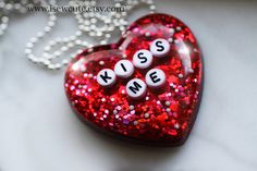 Kiss Me ...giant red resin heart shaped necklace full of glitter hand crafted by #isewcute on etsy.