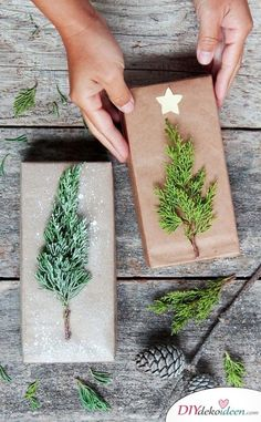 Are you ready for the 40 best DIY gift wrapping ideas for Christmas? Here you are. - DIY: Weihnachten - Christmas tree tinker for Christmas – DIY gifts - Easy Diy Christmas Gifts, Noel Christmas, Christmas Gift Wrapping, Xmas Gifts, Holiday Crafts, Christmas Ideas, Wrapping Gifts, Simple Gift Wrapping Ideas, Diy Wrapping Paper