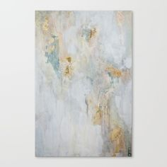 Focus is a soft, pink, green, gold, grey, and blush painting. This soothing soft painting. This art print is printed on canvas and comes stretched and ready to hang. Shop now. Made by Christine Olmstead.