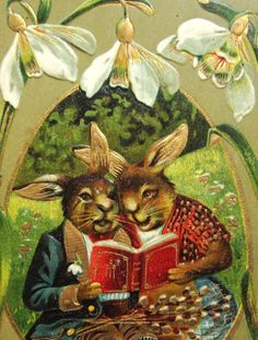 Dressed Rabbits Read A Book Easter Fantasy Superb Postcard Emb Gold | eBay