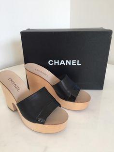 b399c873295bf Vintage Black CHANEL 70 s Wooden Leather Platform Sandals Wedges 40  Excellent Condition Chanel Price