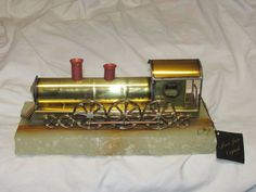 Vintage Hand Made Mario Jason Signed Sculpture Coal Fired Train Engine on Onyx