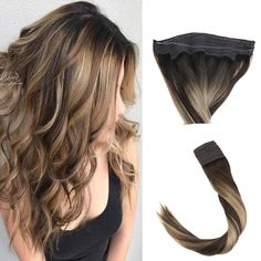 Flip on Highlight Balayage Dark Brown to Ash Blonde- Brown Straight Width Medium Hair Styles, Short Hair Styles, Natural Hair Styles, Below Shoulder Length Hair, Flip In Hair Extensions, Lighter Hair, Human Hair Color, Hair Falling Out, Brown Hair With Highlights