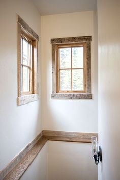 Adding reclaimed trim to interior doors & windows is a simple way to make your space unique or tie in material from an accent wall or ceiling. This trim compliments the material that was used for the ceiling in the main room of the house. - May 18 2019 at Farmhouse Trim, Farmhouse Windows, Farmhouse Interior, Rustic Farmhouse, Interior Window Trim, Interior Barn Doors, Arch Interior, Home Renovation, Home Remodeling