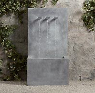 RH's Weathered Zinc Wall Fountain 3-Spout:Inspired by a Belgian design, our fountain displays pure, spare lines and makes an understated focal point in the garden. It's handcrafted of steel and swathed in weathered zinc for a rustproof finish with timeworn appeal.