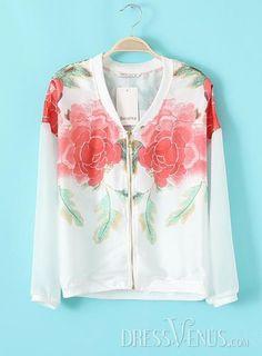 US$25.82 Cool V-Neckline Zipper Print Chiffon Jacket. #Blouses #Chiffon #Print #Cool