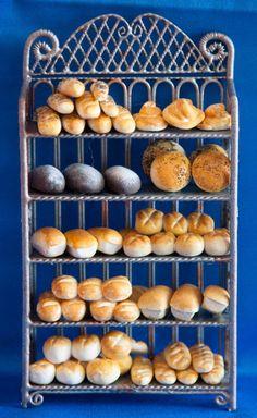 Dollhouse Miniature Bakery, Bread, Food, Deli, Sandwich Shop, Display.