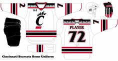 College Hockey Design Concepts for schools that don't have D1 hockey.  Cincinnati Bearcats Home Uniform