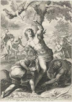 Heilige Sebastiaan vastgebonden aan een boom, Aegidius Sadeler, 1580 - 1629