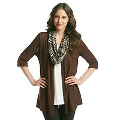 Notations® Layered Look Cardigan And Cami Top With Removable Sequin Print Scarf